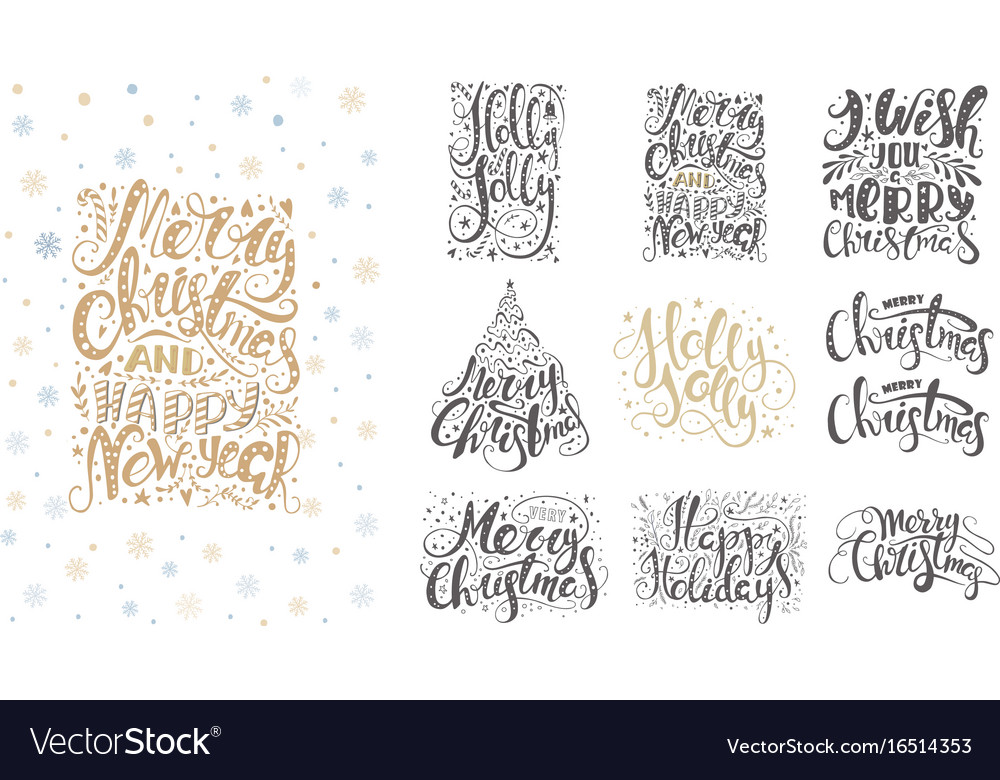 Merry christmas lettering over with snowflakes and vector image