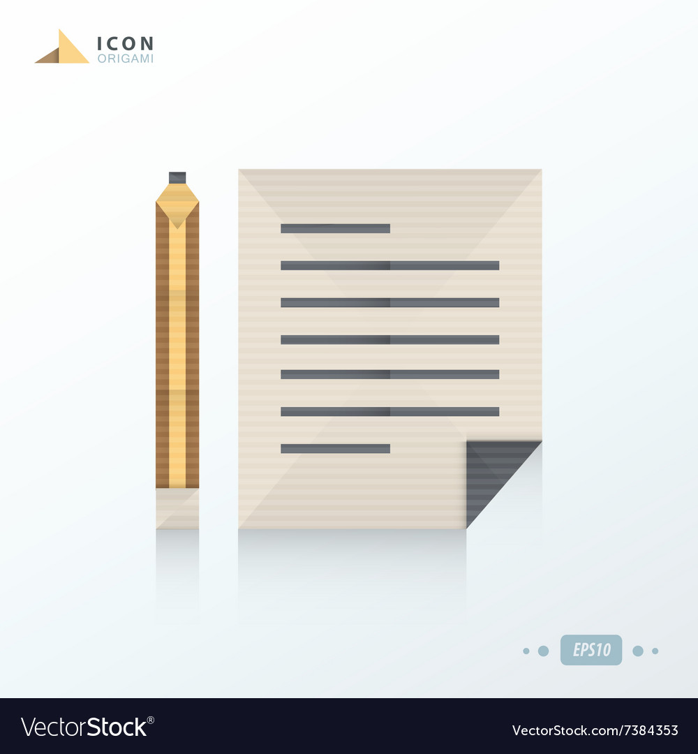 Notebook and pencil icon origami