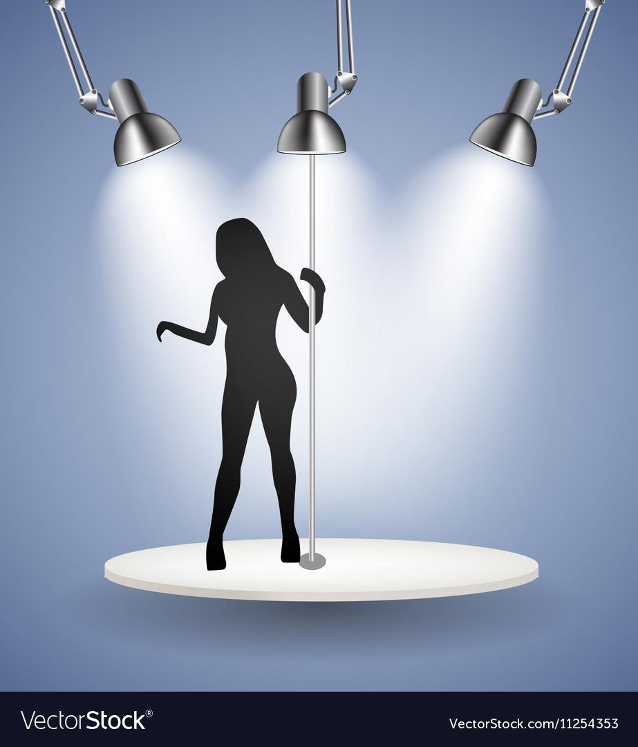 Silhouette of Dancing Striptease Girl on Pole