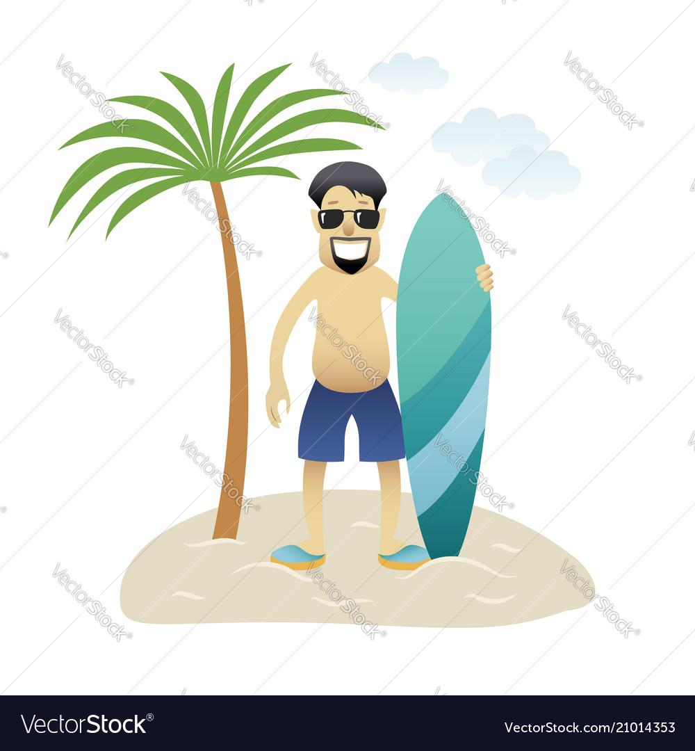 Summer banner man on the beach is standing under
