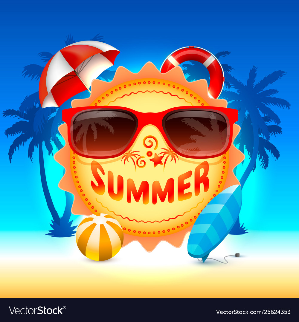 Summer time holiday cover banner design elements
