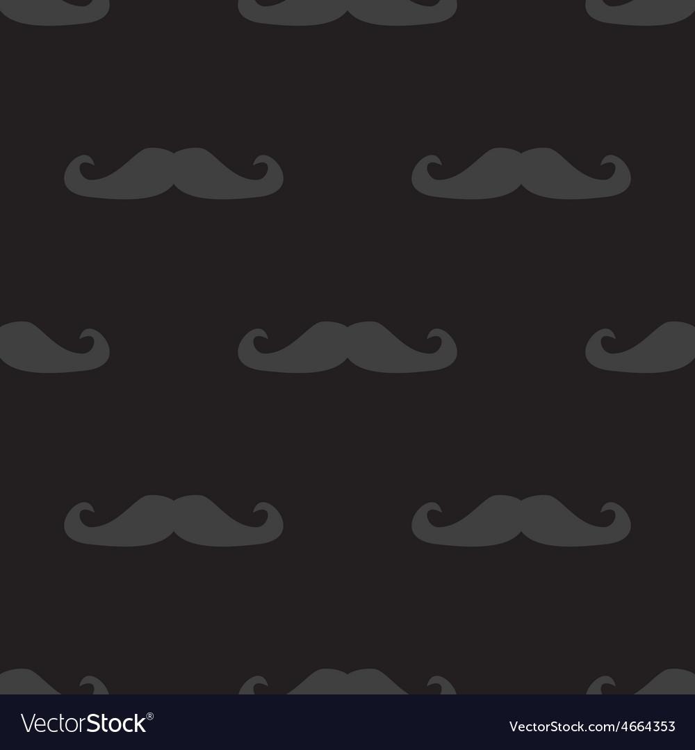 Tile mustache dark pattern on black background vector image