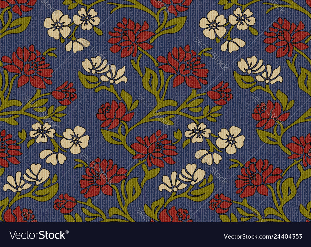 Vintage Victorian Flowers Upholstery Fabric Vector Image
