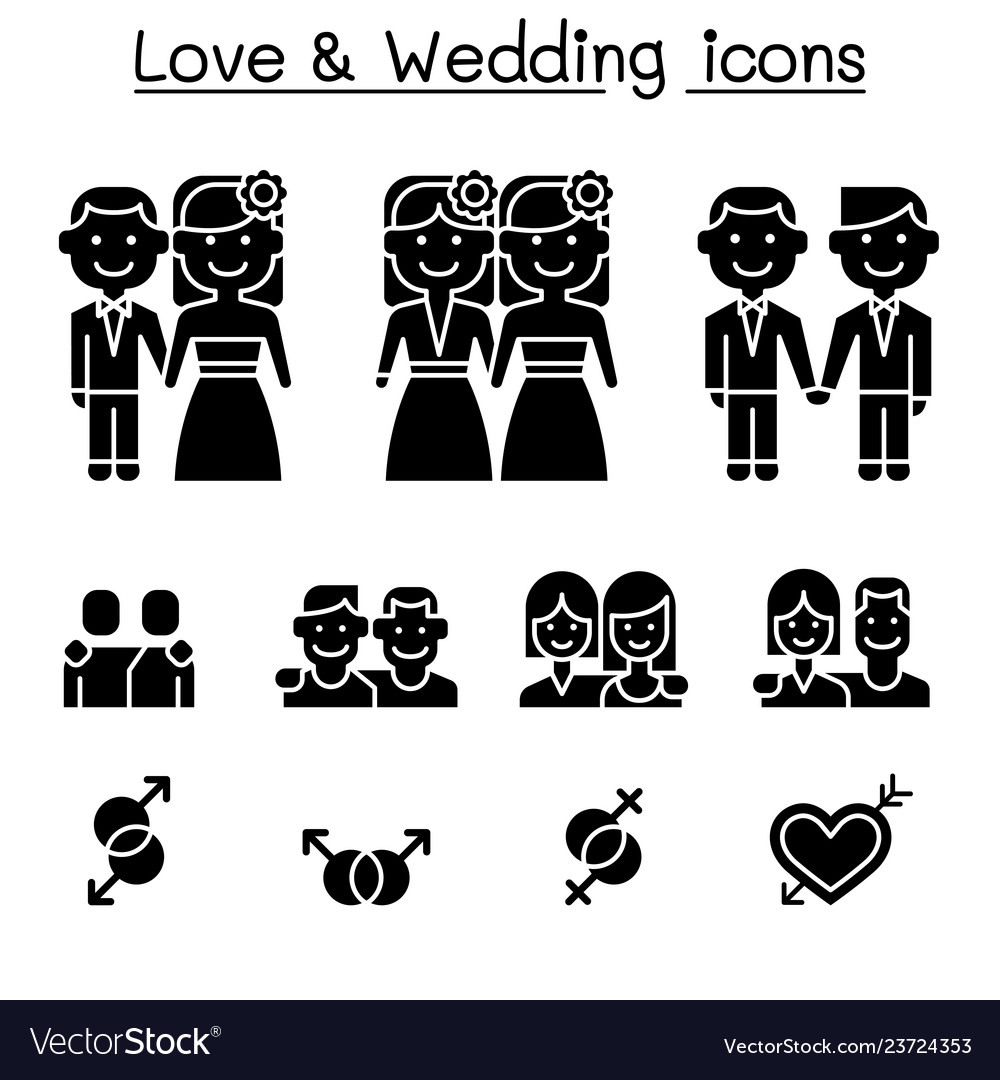 Wedding loving icon set