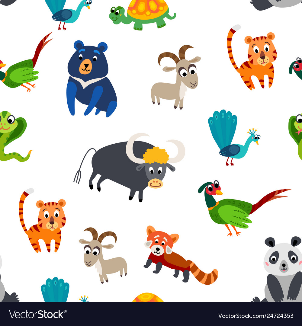 Wild asia animals seamless pattern in flat style