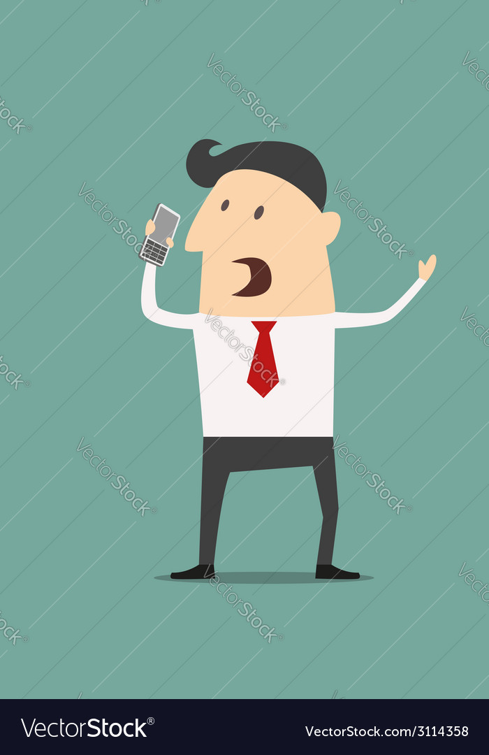 Cartoon businessman using a mobile phone vector image