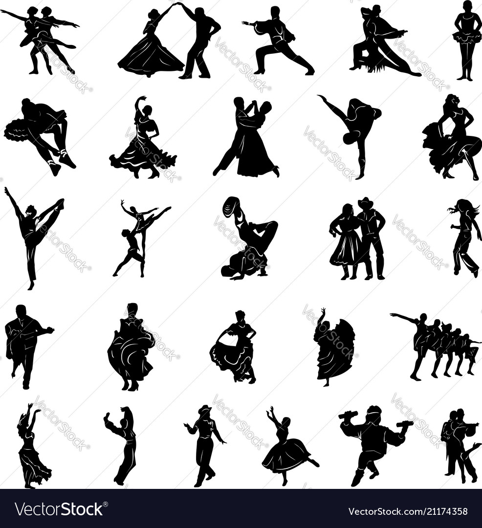 Dancer people silhouette collection