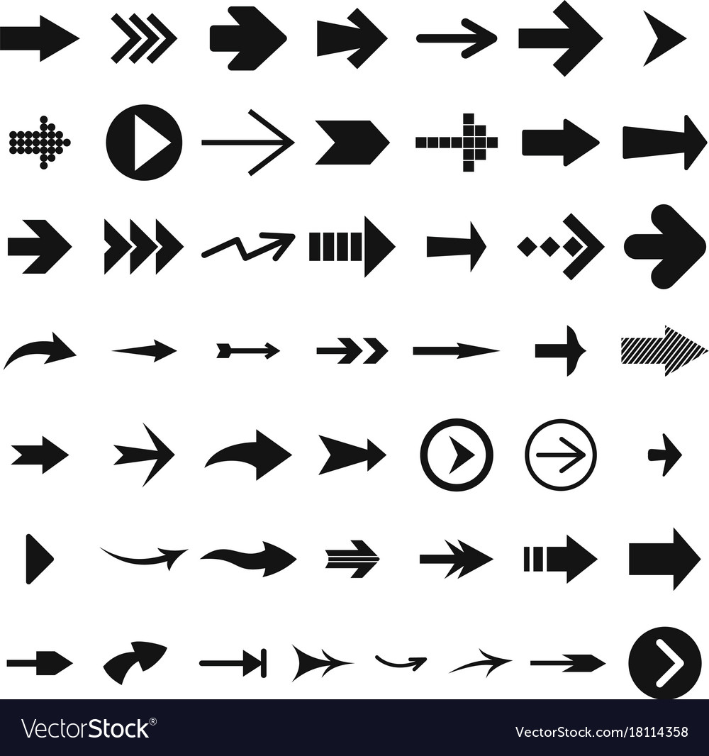 Different arrow icon set simple style