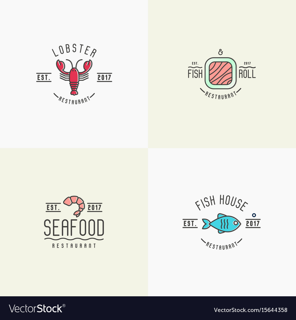 Four styles for logo of fish or sushi restaurant vector image