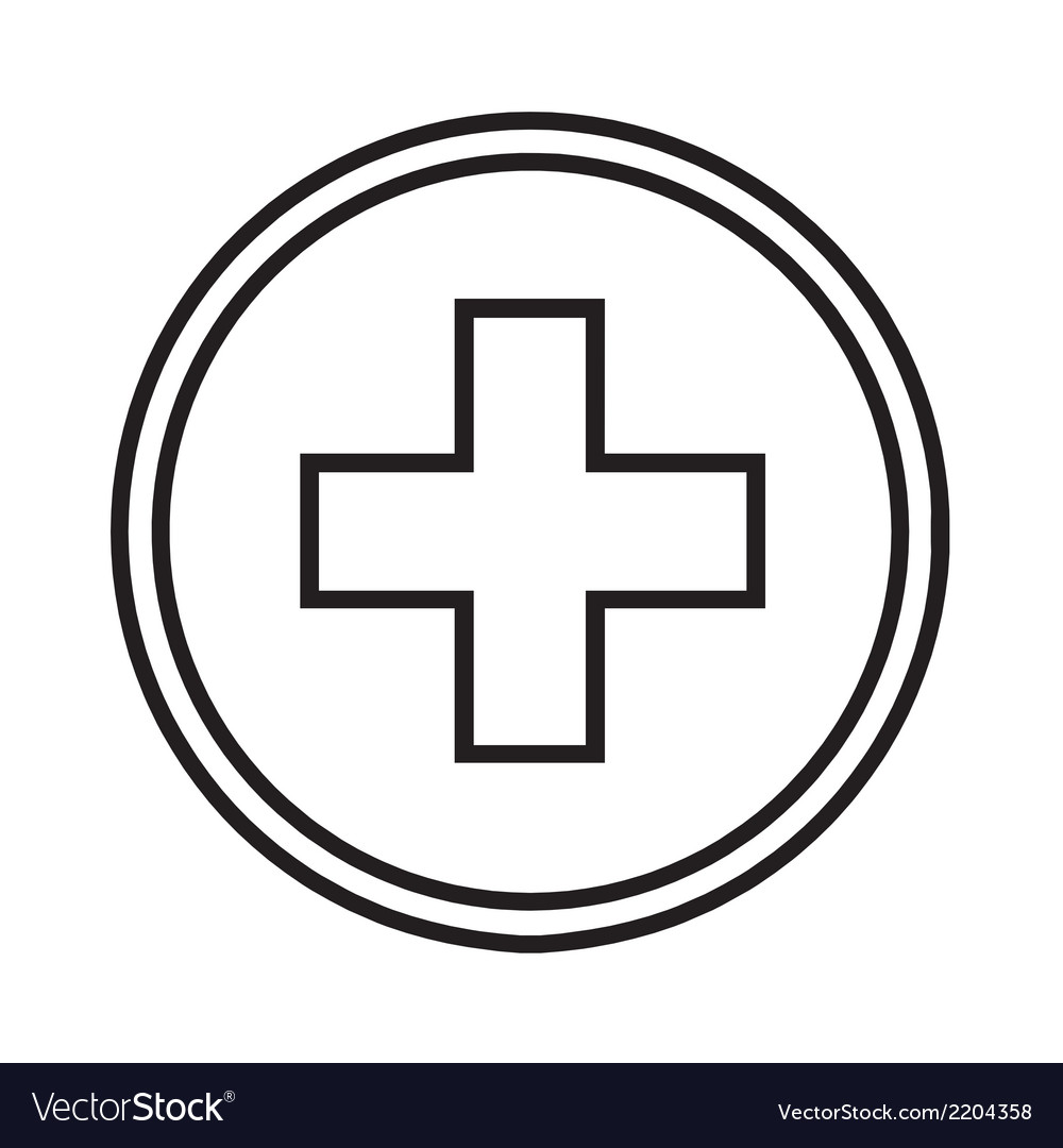 Medical symbol circle with a cross vector image