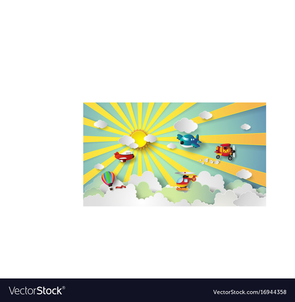 Plane flying on sky vector image