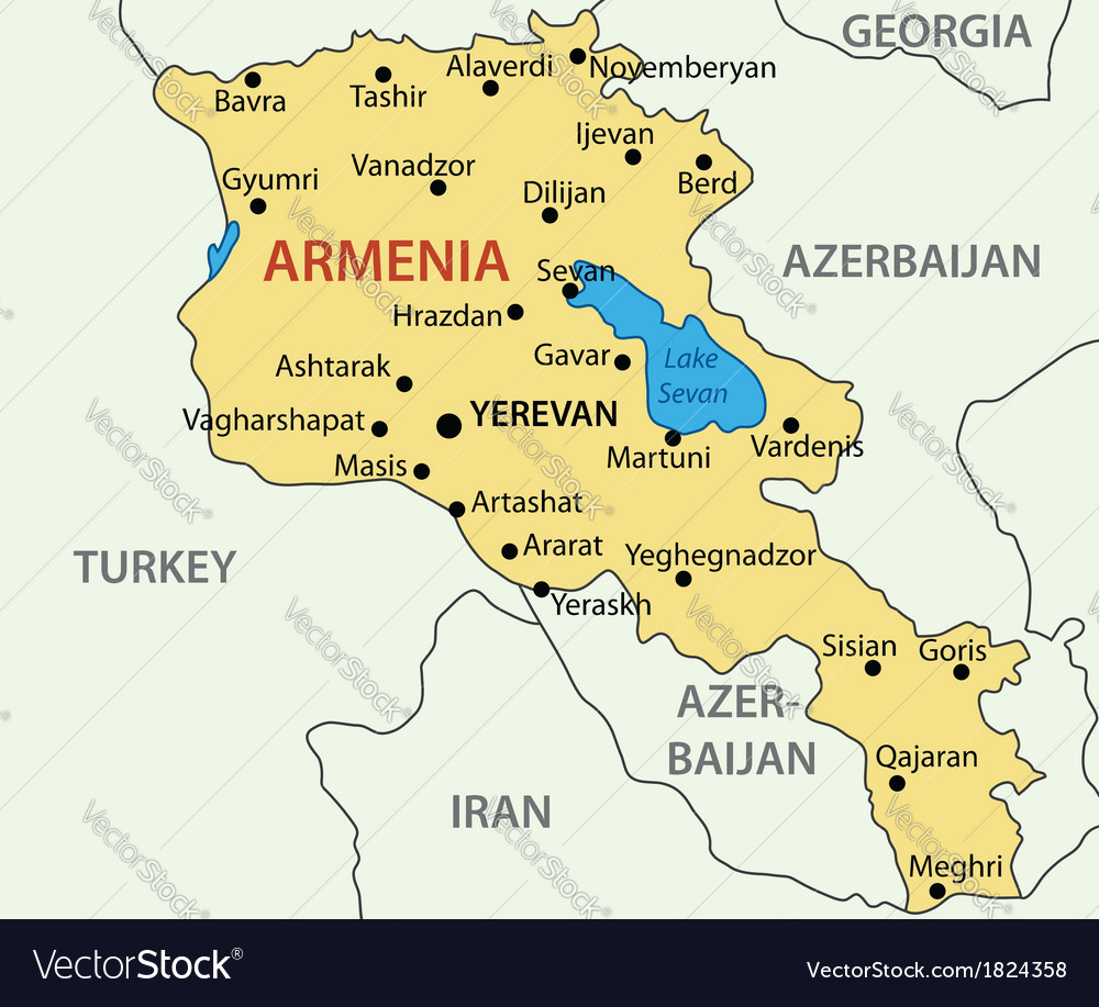 Republic of Armenia - map Royalty Free Vector Image