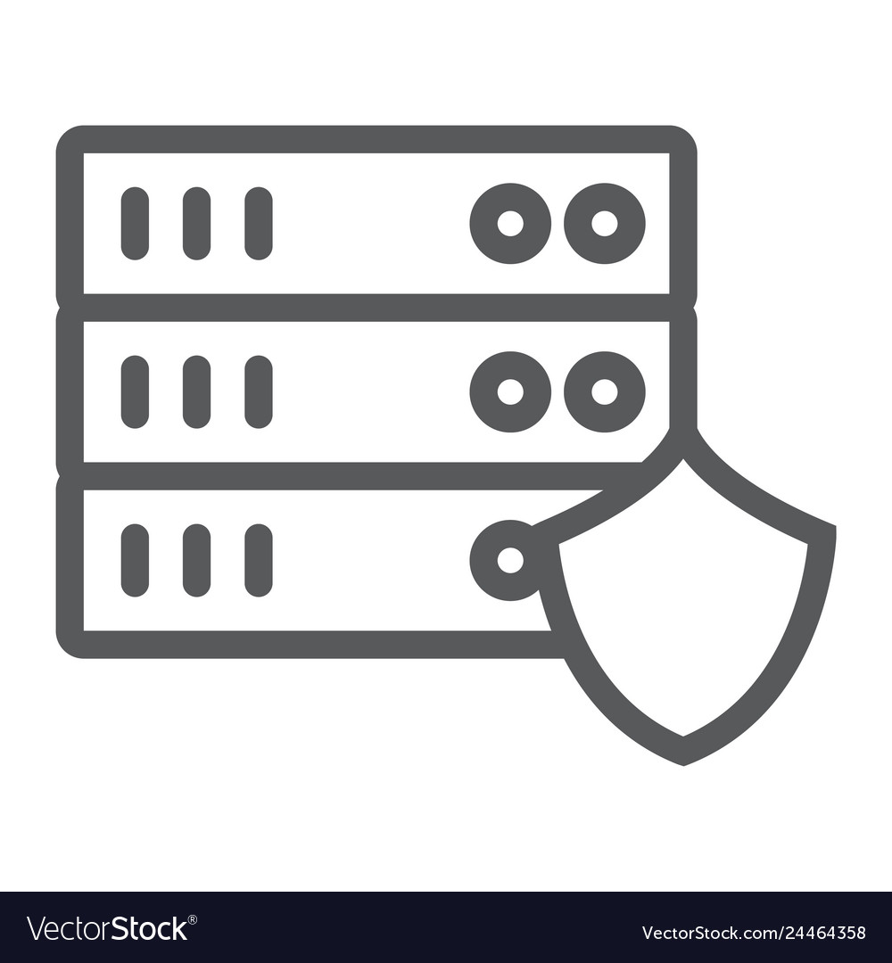 Server protection line icon privacy and security