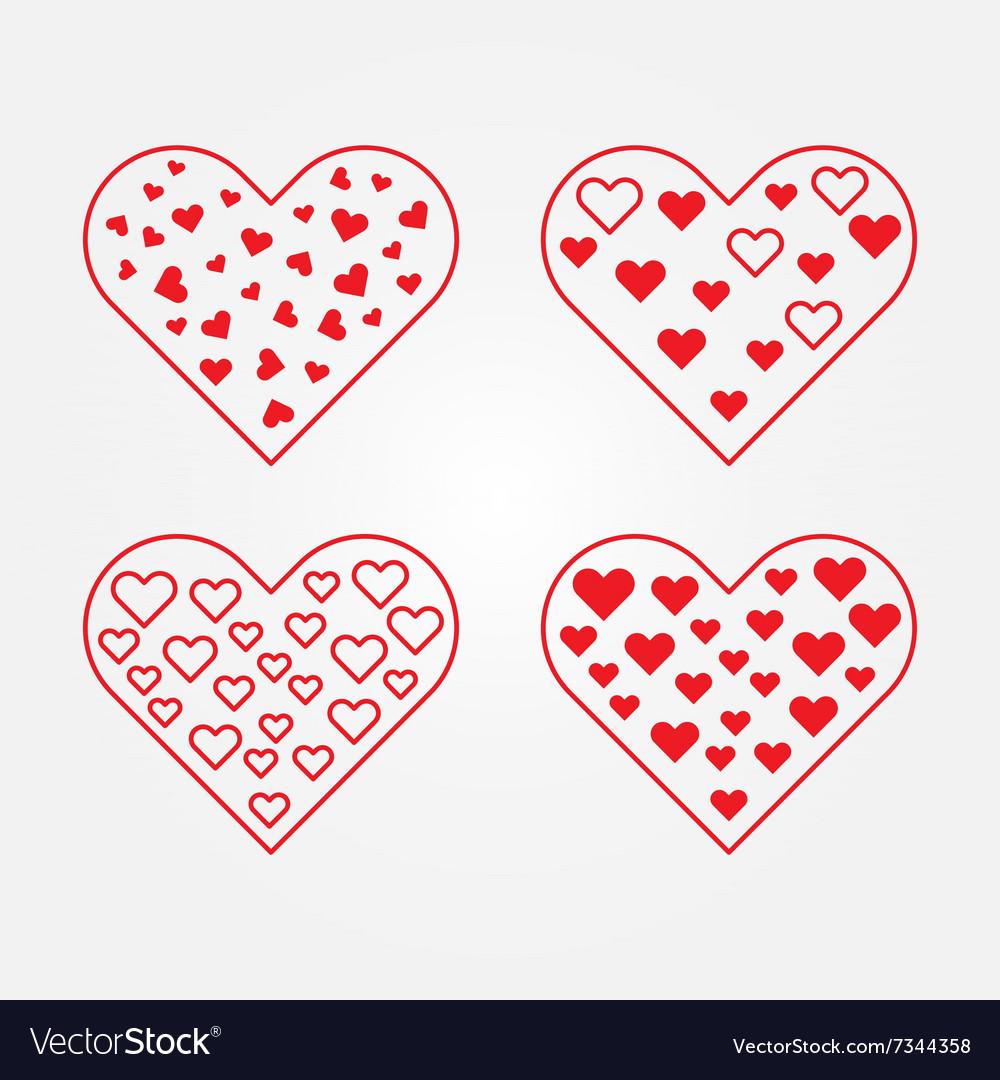 Set of heart symbols