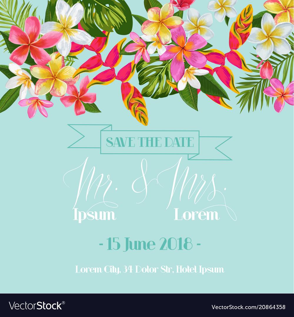 Wedding invitation template with plumeria flowers vector image