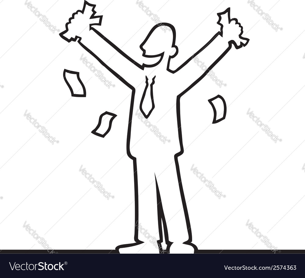 Business man cheering with money in his hands