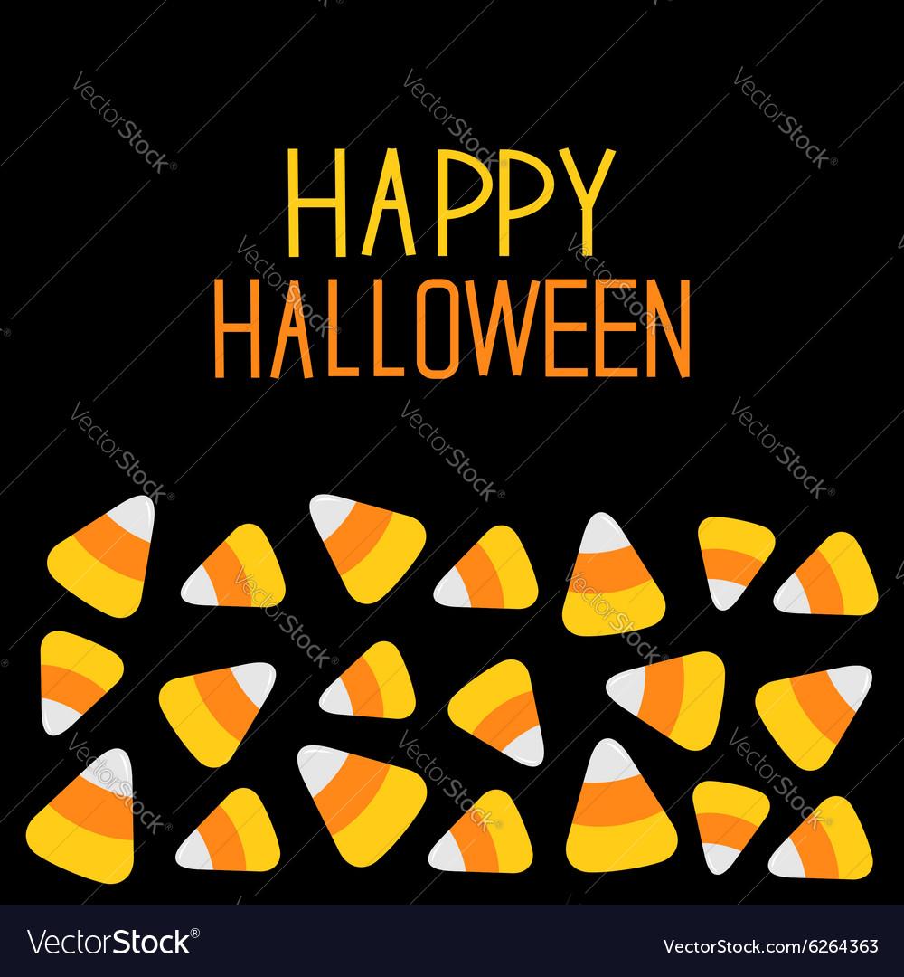 Candy corn set Happy Halloween card Flat design