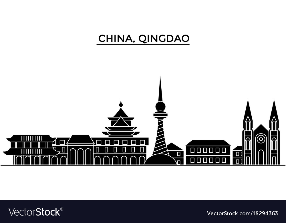 China qingdao architecture urban skyline with vector image