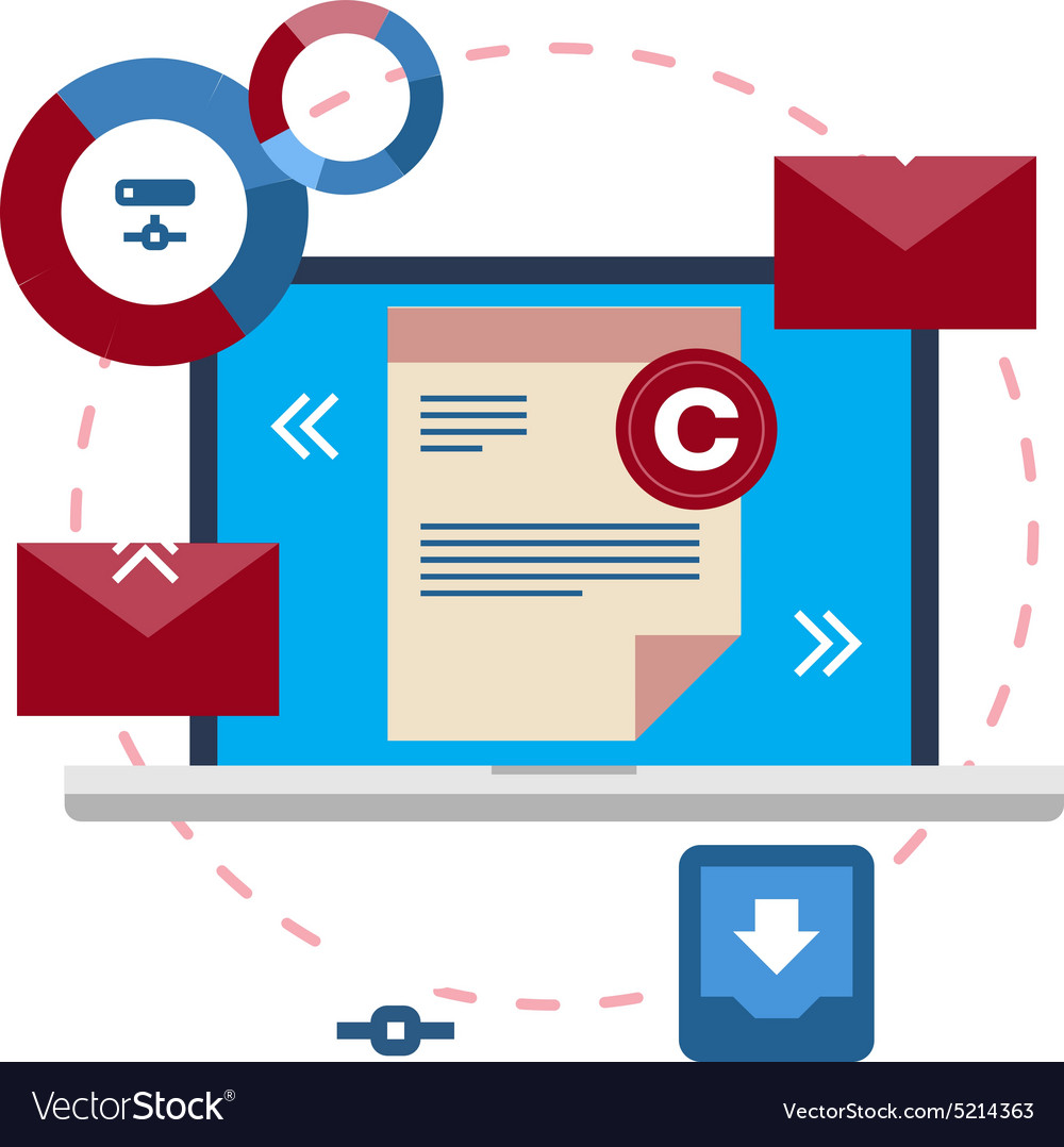 Document management flat icon concept vector image