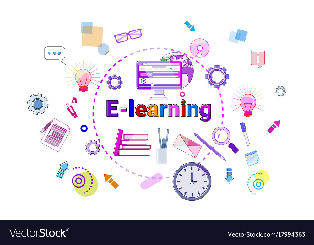 E Learning Banner Online Education Elearning Vector Image
