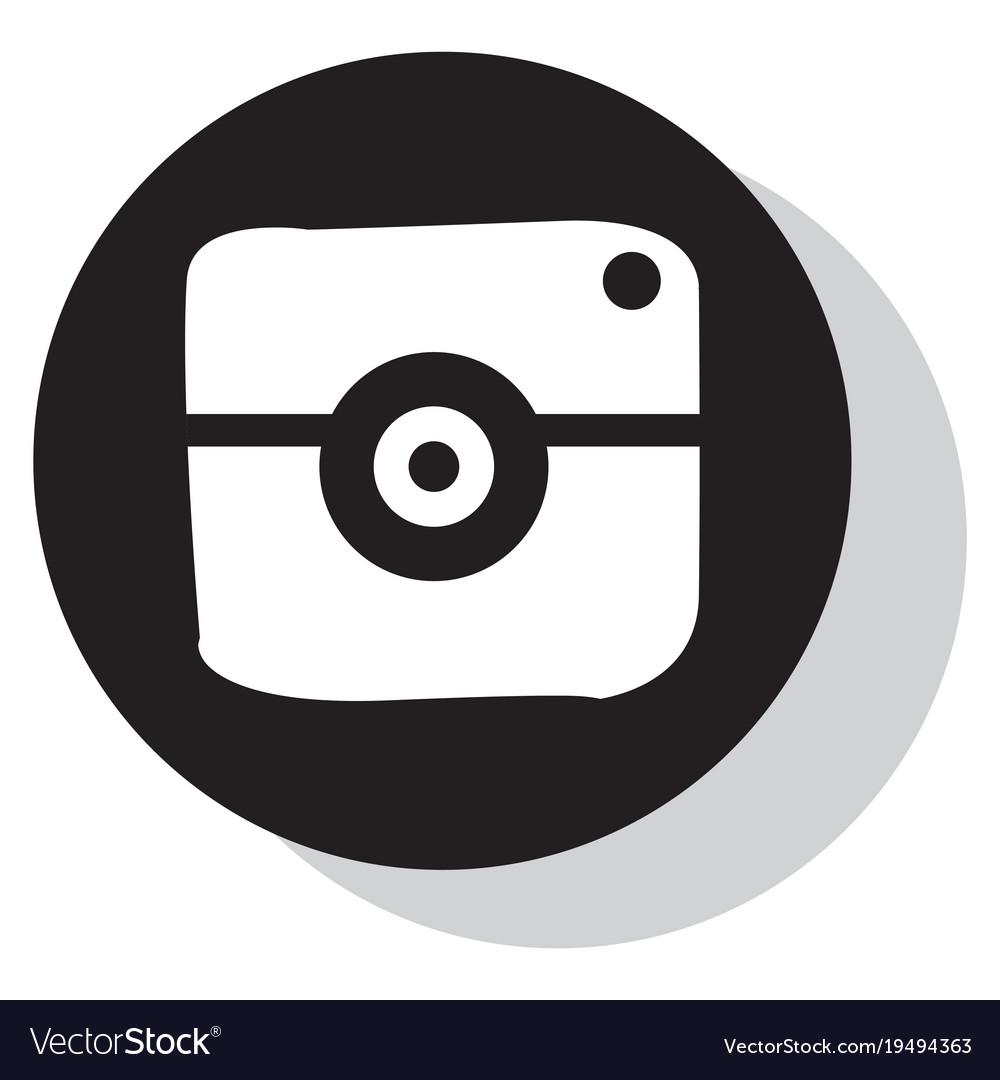 Flat web icon of modern lineart camera digital