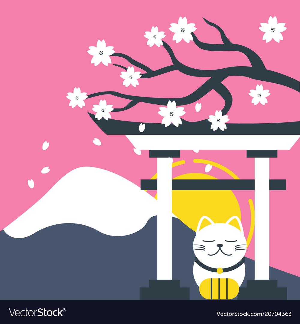 Mount fuji japanese gate sakura lucky cat pink bac vector image