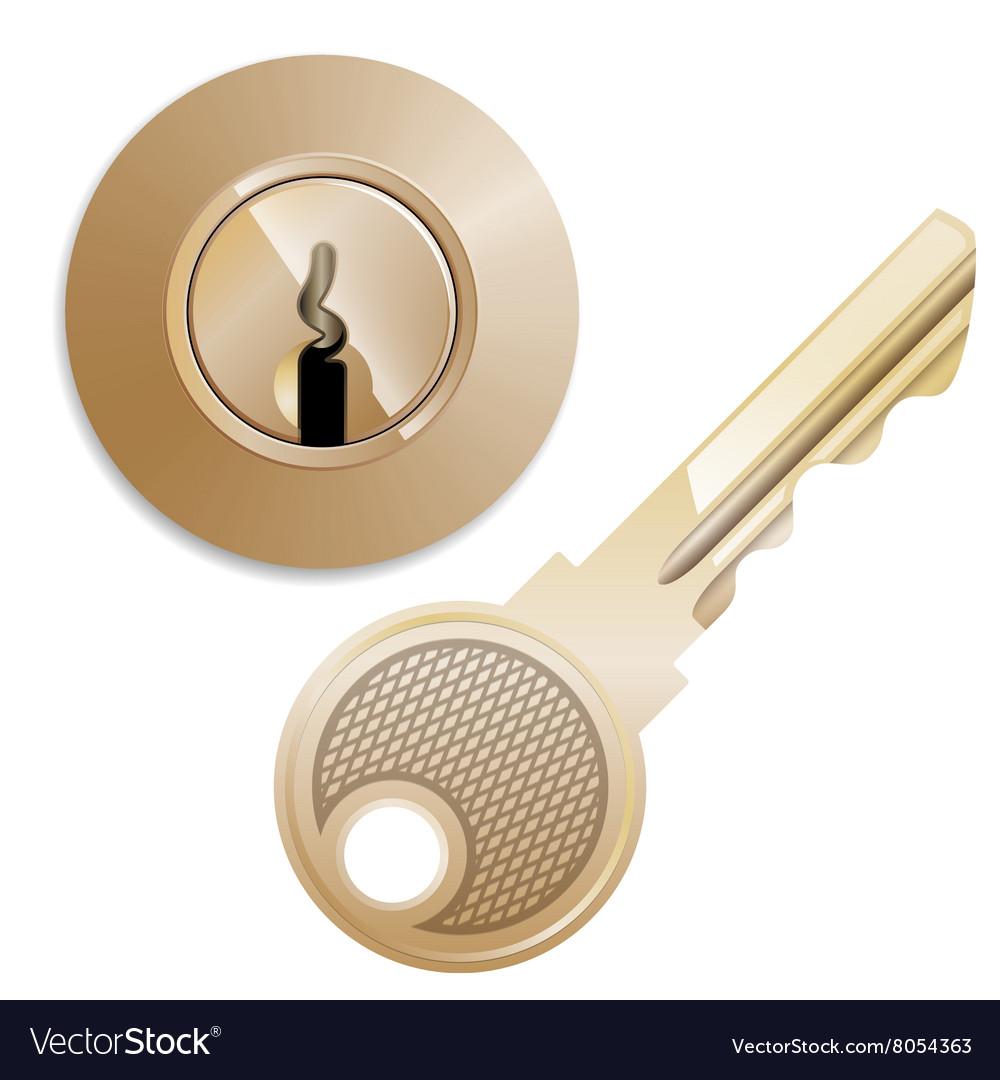 Round Pin tumbler lock and key