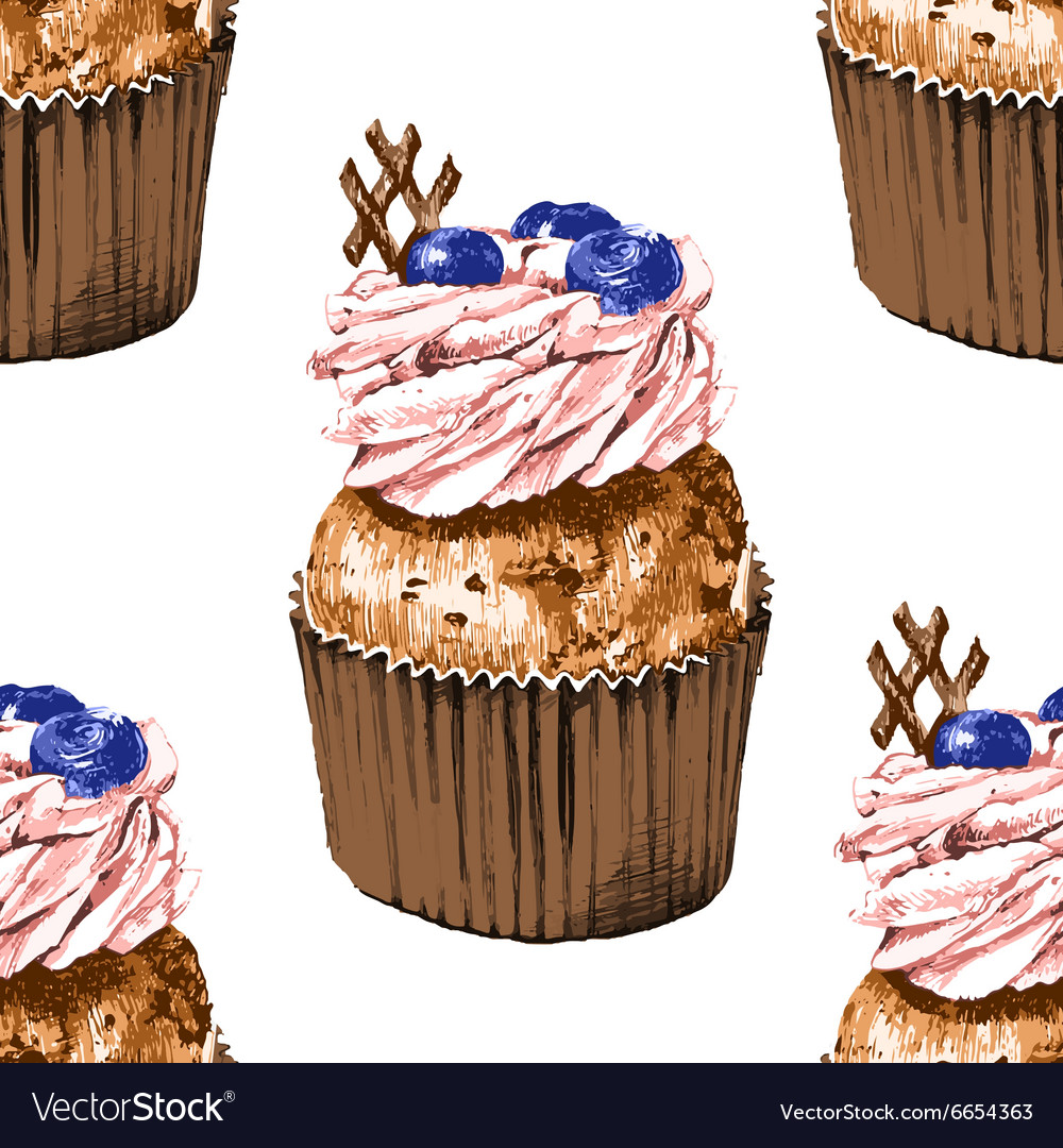 Seamless pattern with hand drawn cupcakes