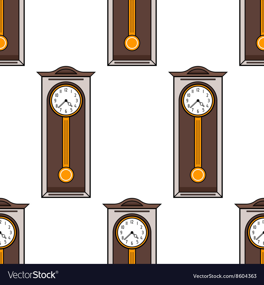 Seamless pattern with interior grandfather clock
