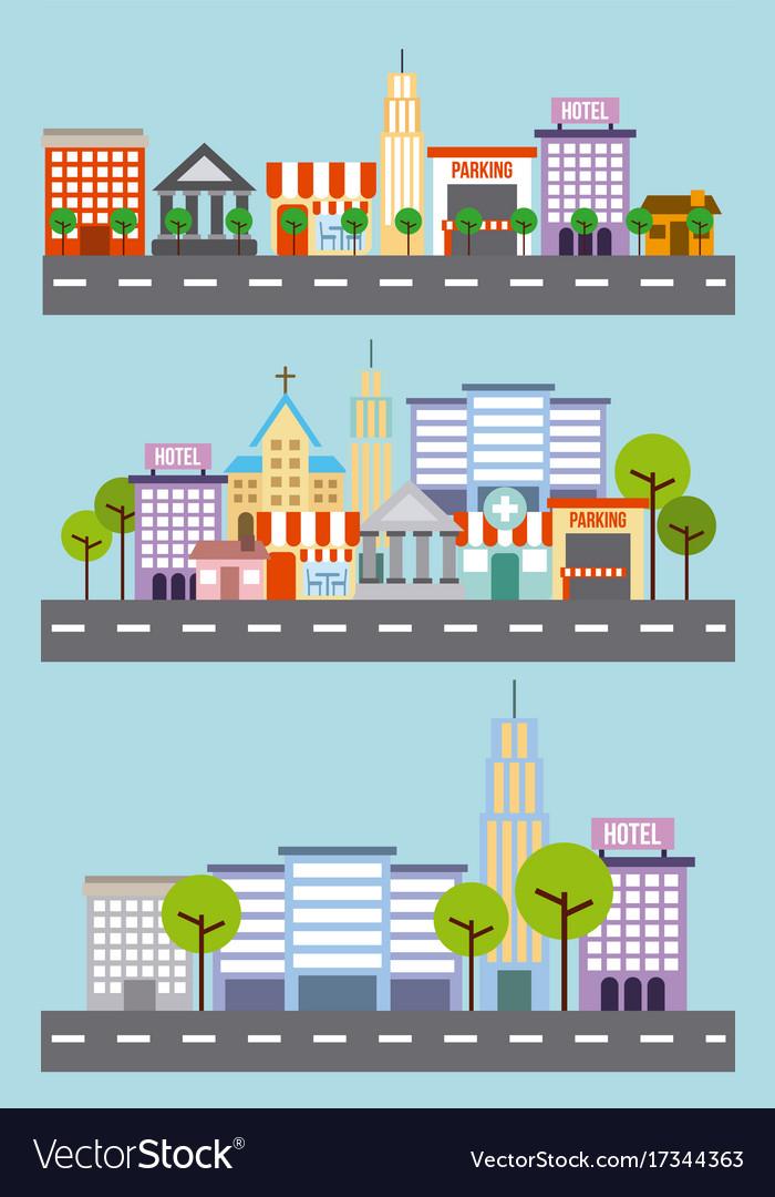 Set of city building street tree architecture