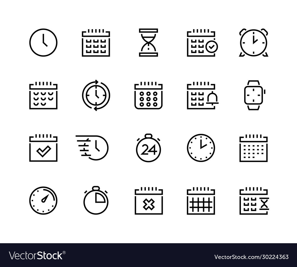 Time and calendar line icons business planning