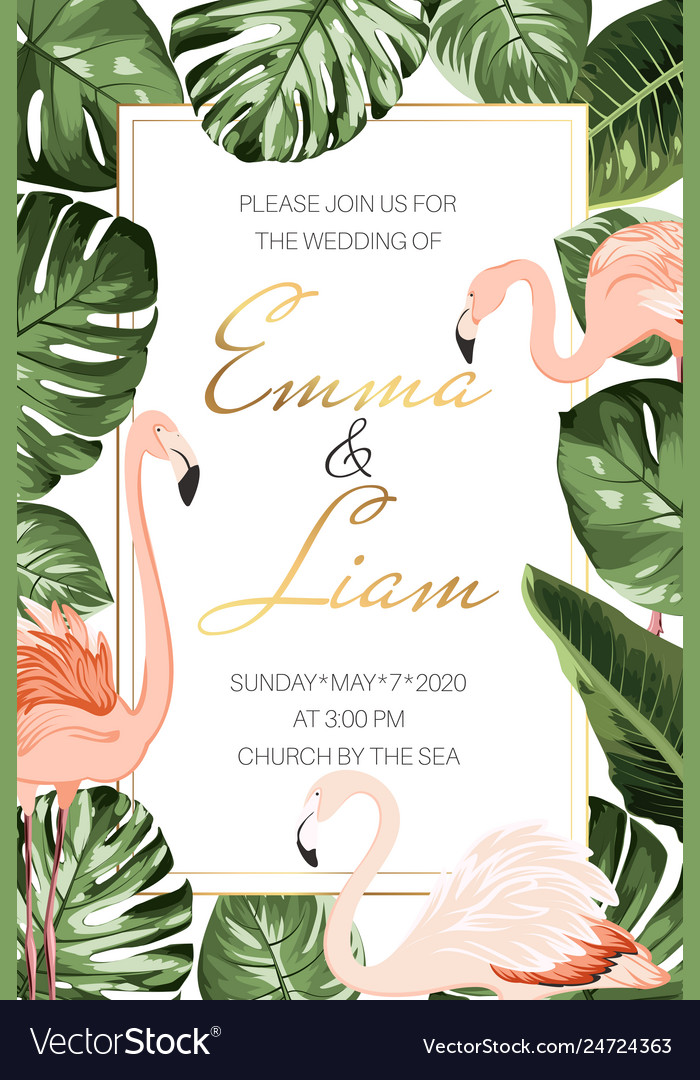 Wedding marriage tropical event invitation card