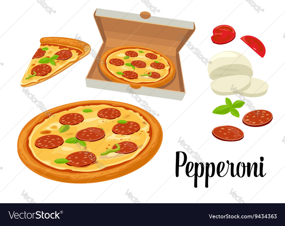 Whole pizza and slices of pizza pepperoni in open