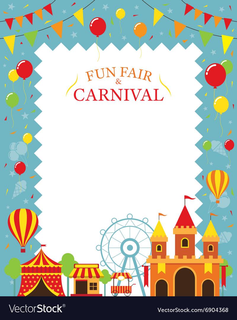 Amusement Park with Decoration Frame vector image