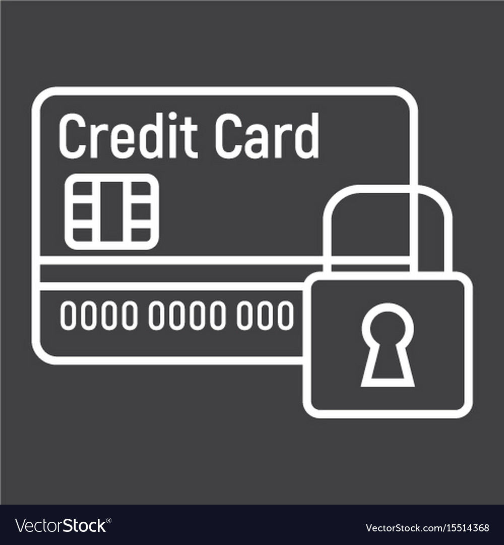 Credit card with padlock line icon protection