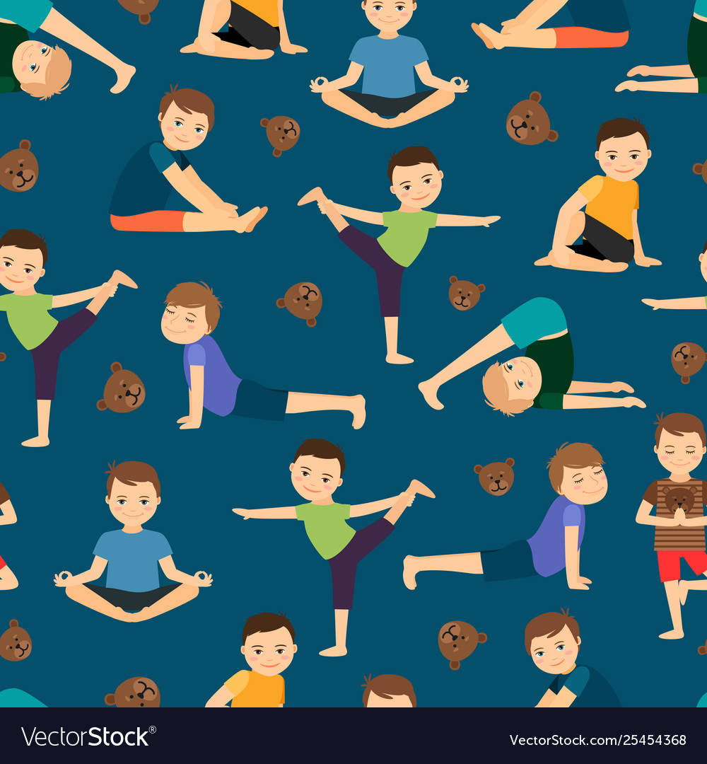 Cute boys yoga training pattern