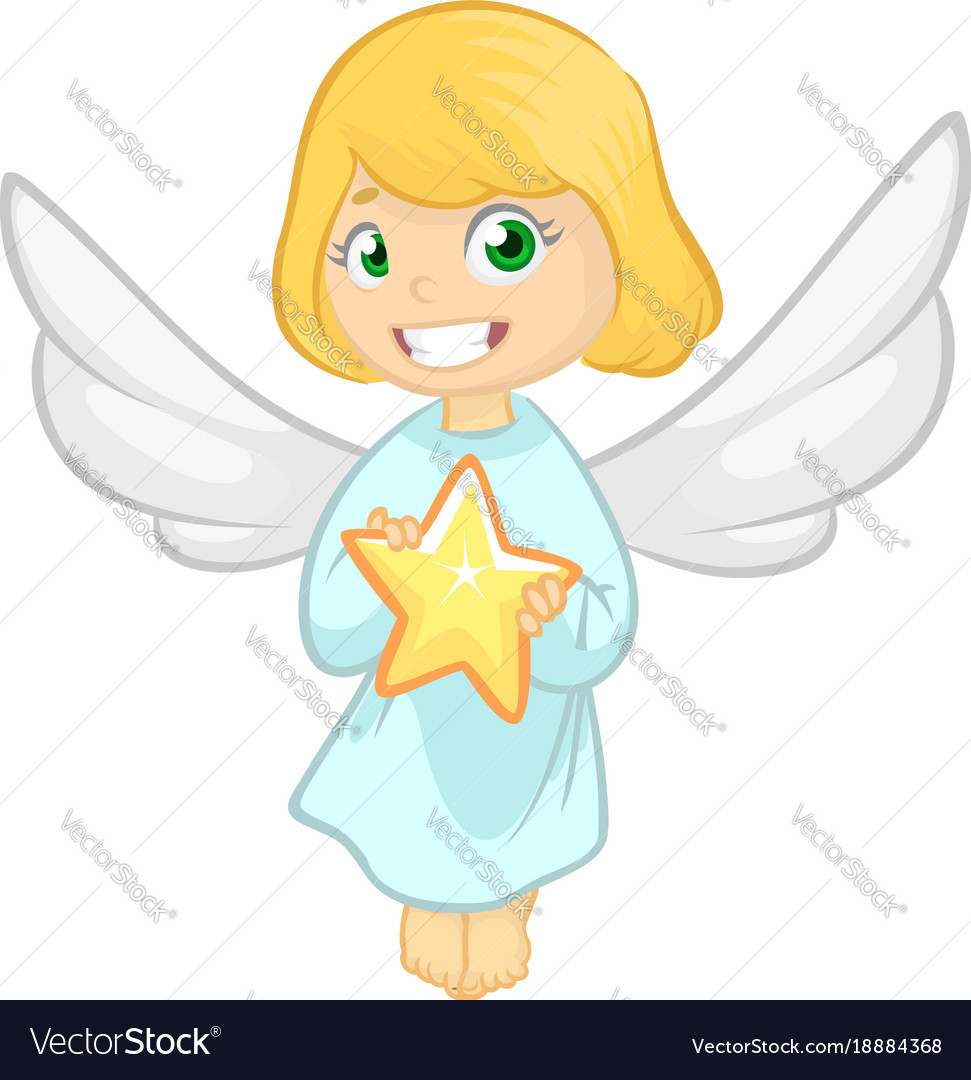 cute cartoon christmas angel holding a star vector image - A Christmas Angel