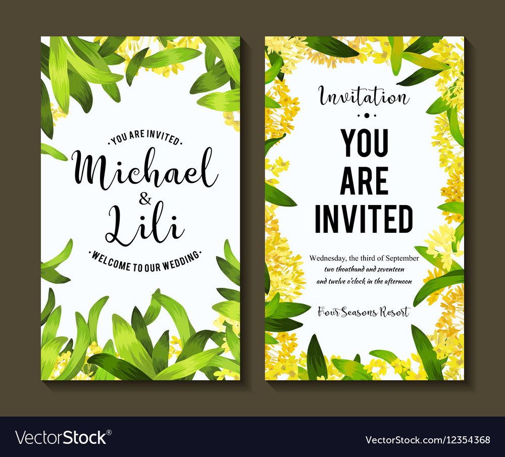 Floral Background For Invitation Card Banners Set