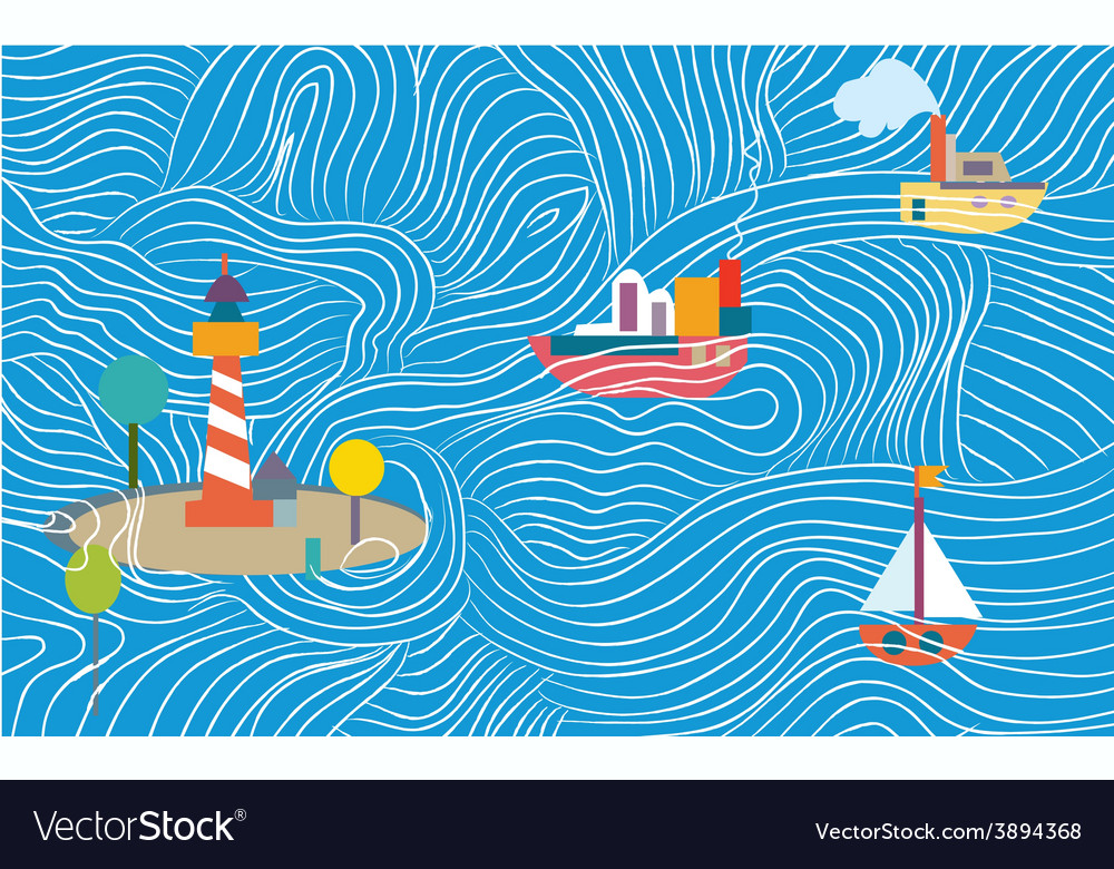 Funny sea banner with ships vector image