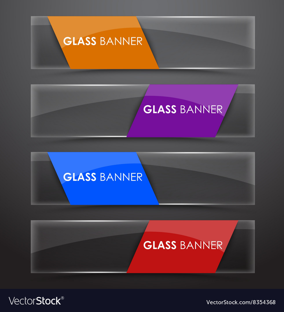 Glass banner with colors ribbon
