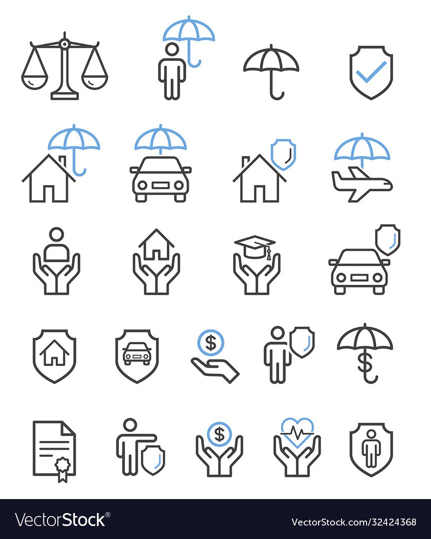Insurance set line icons