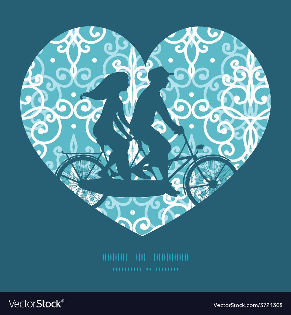 Light blue swirls damask couple on tandem