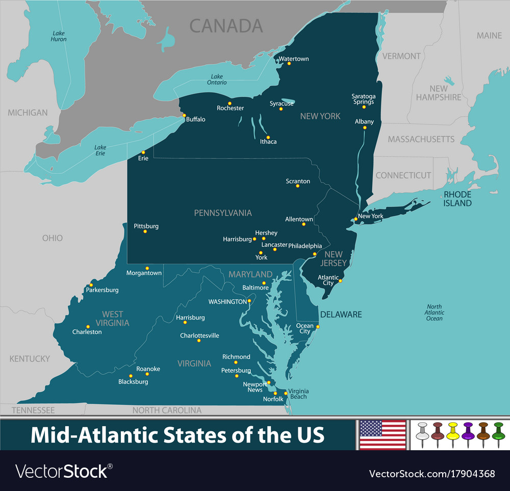 Mid Atlantic States Map.Mid Atlantic States Of The United States Vector Image