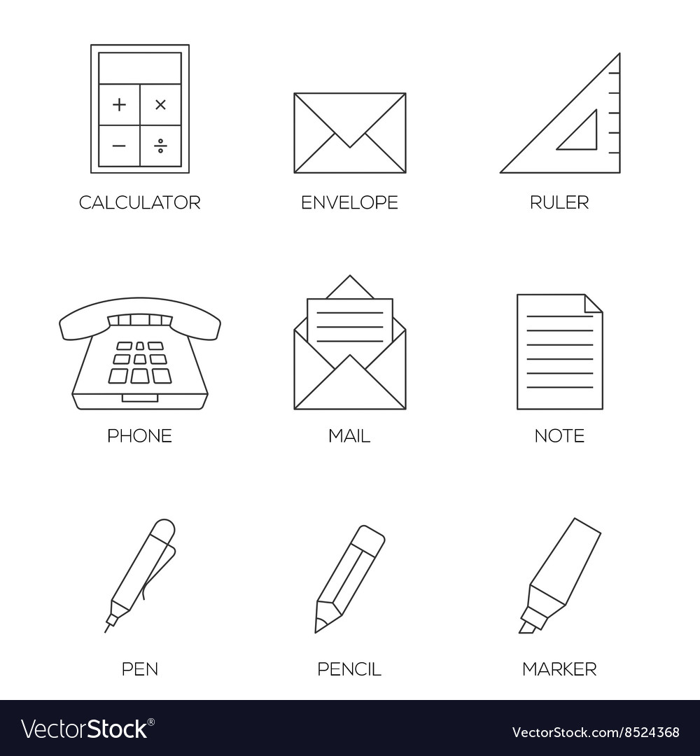 Office tools outline icons vol 2