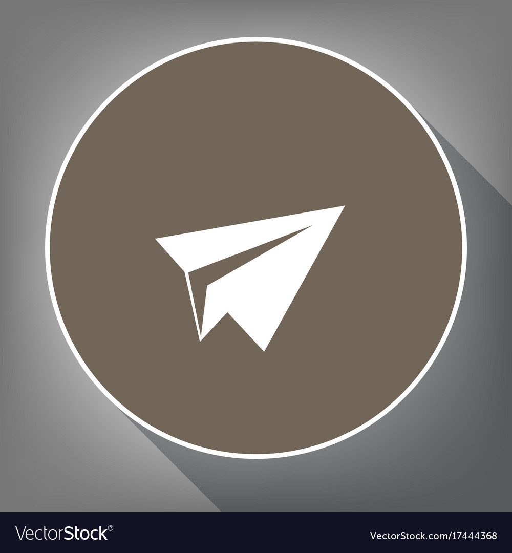 Paper airplane sign white icon on brown