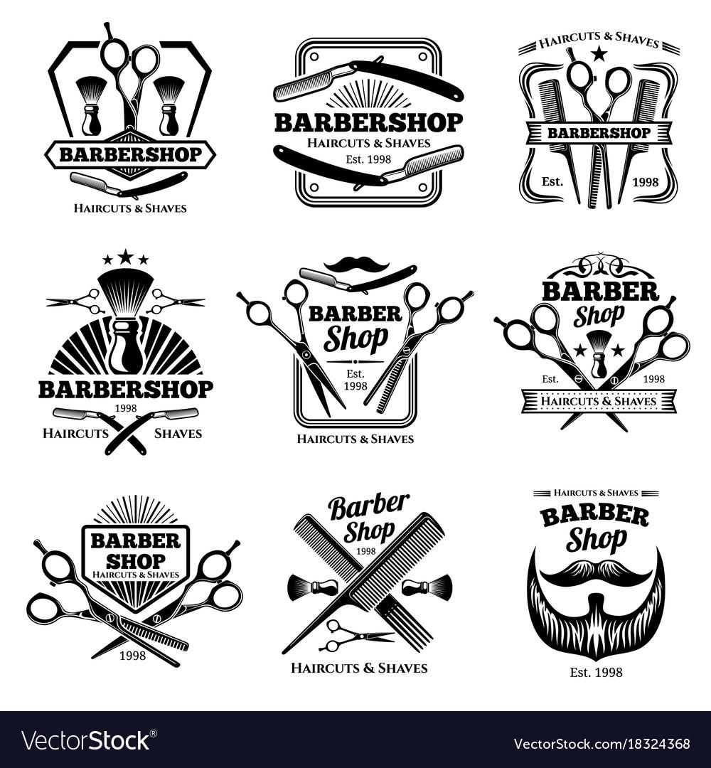 Retro barber shop badges modern haircut
