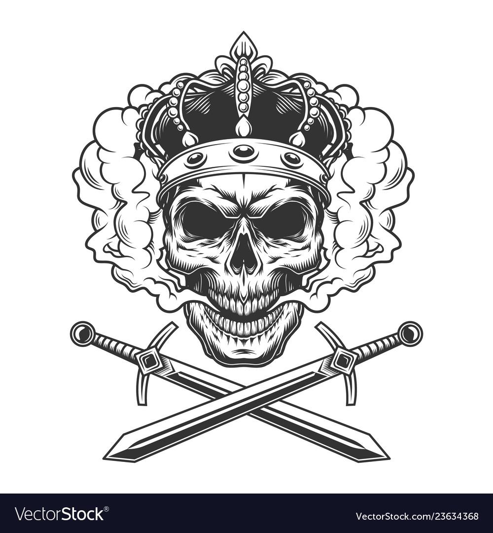 Skull wearing crown in smoke cloud