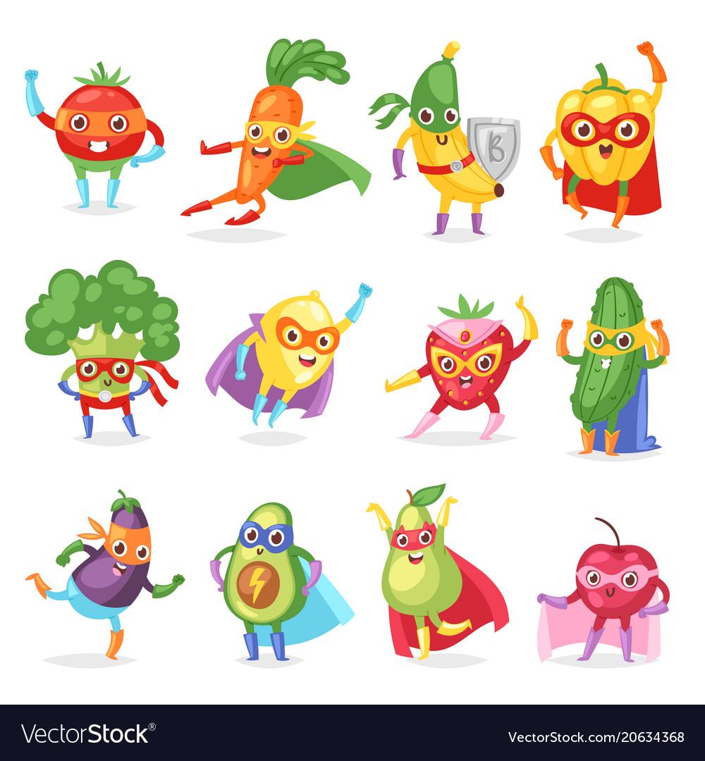 Superhero fruits fruity cartoon character