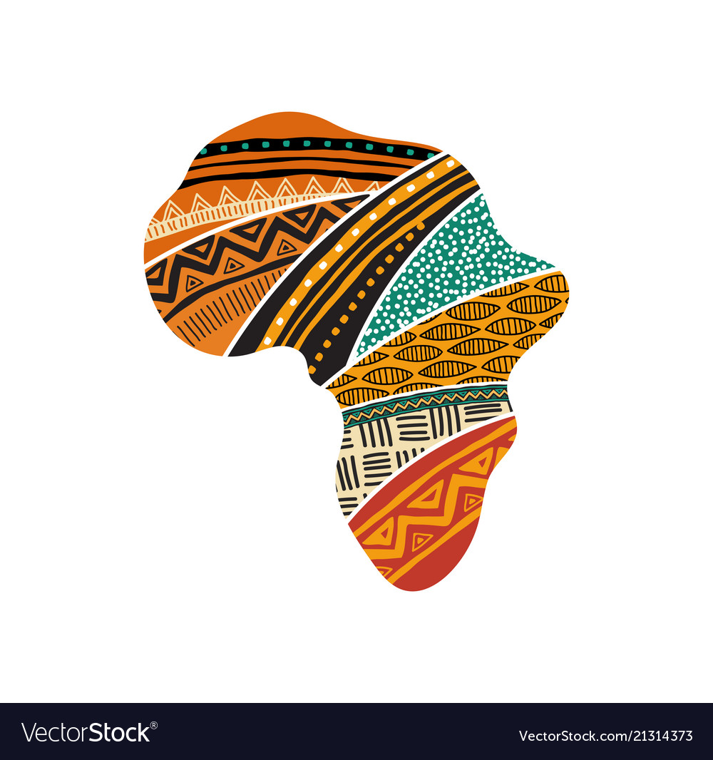 African map silhouette with a traditional pattern