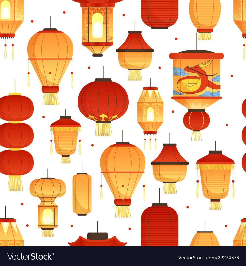 China lanterns pattern asian traditional new year